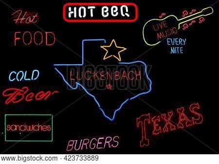 Neon Texas Sign Photo Composite Luckenbach Texas