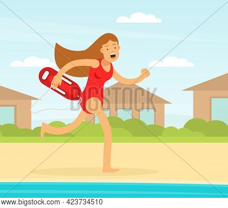 Woman Lifeguard Or Rescuer Supervising Safety And Rescuing Swimmers And Surfers Vector Illustration