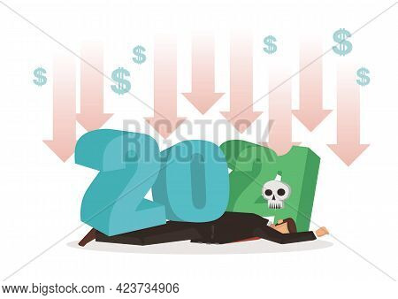 Negative Growth Market Crash In Year 2021. Concept Of Negative Indicators, Decline Business And Rece