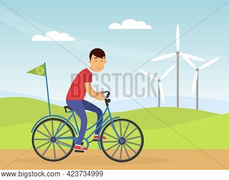 Young Man Riding Bicycle Contributing Into Environment Preservation Vector Illustration