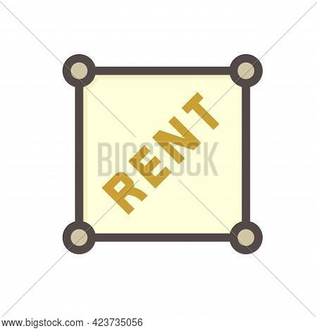 Land Plot For Rent Vector Icon. Real Estate Or Property Consist Of Vacant Land With Square Shape. Pl
