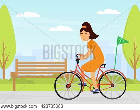 Young Woman Riding Bicycle Contributing Into Environment Preservation Vector Illustration
