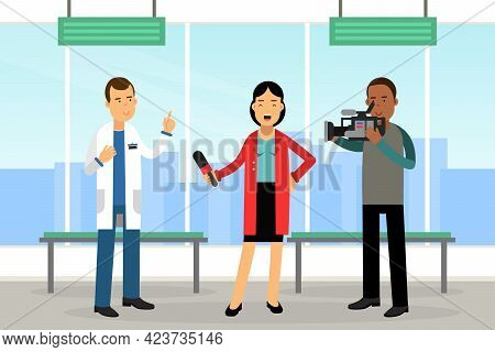 Female Journalist Conducting Interview On Television Broadcast Reporting News And Information Vector