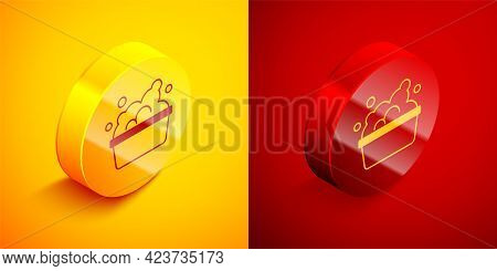 Isometric Plastic Basin With Soap Suds Icon Isolated On Orange And Red Background. Bowl With Water.