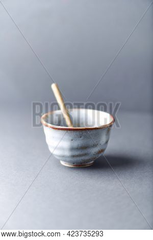 Traditional, Handcrafted Ceramic On Gray Background. Soft Focus. Close Up. Copy Space.