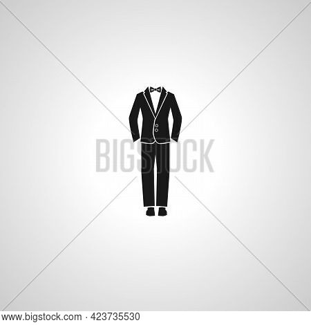 Man Suit Tuxedo Isolated Simple Vector Icon.