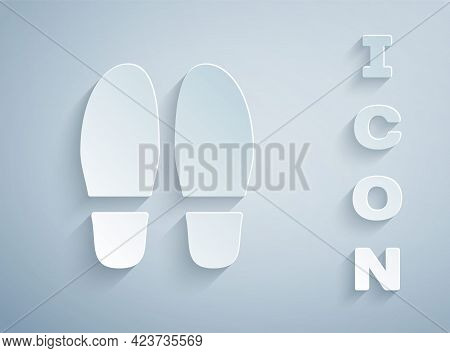 Paper Cut Footsteps Icon Isolated On Grey Background. Detective Is Investigating. To Follow In The F
