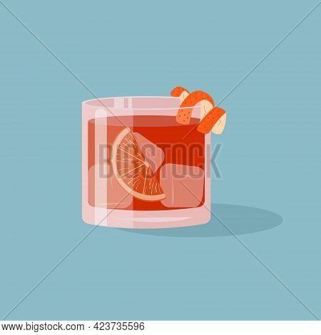 Negroni Cocktail In Old Fashioned Glass With Ice And Orange Slice. Aperol Or Campari Alcoholic Bever