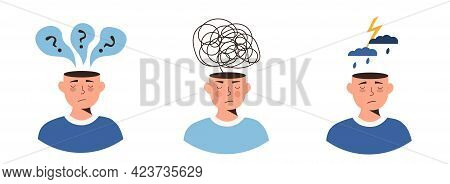 Set Of Depressed Or Frustrated People With Nervous Problem. Distorted Thinking, Feel Anxiety And Con
