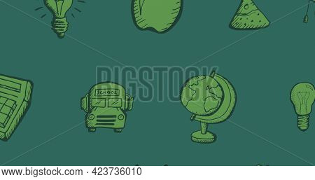 Composition of green school related drawings including school bus and globe on chalkboard background. school, education and study concept digitally generated image.