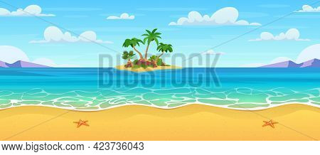 Cartoon Summer Beach. Tropical Island In Ocean With Palm Trees And Rock. Summer Sea Landscape. Tropi