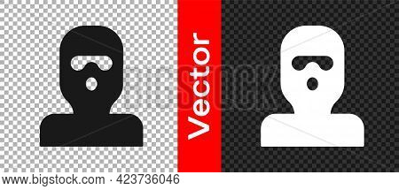 Black Thief Mask Icon Isolated On Transparent Background. Bandit Mask, Criminal Man. Vector
