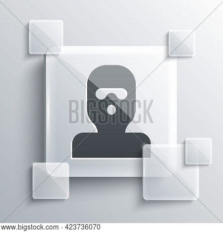 Grey Thief Mask Icon Isolated On Grey Background. Bandit Mask, Criminal Man. Square Glass Panels. Ve