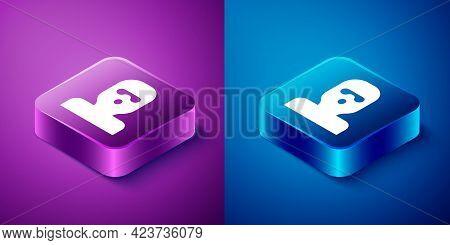 Isometric Thief Mask Icon Isolated On Blue And Purple Background. Bandit Mask, Criminal Man. Square