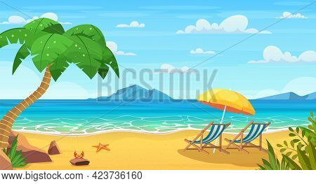 Sea Beach And Sun Loungers. Seascape, Vacation Banner. Summertime On The Beach. Cartoon Palms And Pl