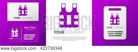Logotype Bulletproof Vest For Protection From Bullets Icon Isolated On White Background. Body Armor