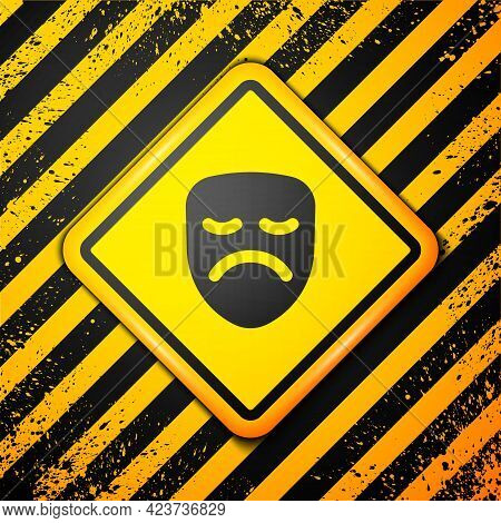 Black Drama Theatrical Mask Icon Isolated On Yellow Background. Warning Sign. Vector