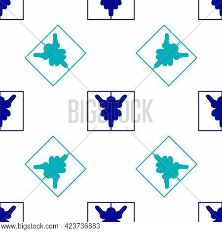 Blue Rorschach Test Icon Isolated Seamless Pattern On White Background. Psycho Diagnostic Inkblot Te