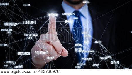 Business concept texts over against mid section of businessman touching invisible screen. global networking and business technology concept