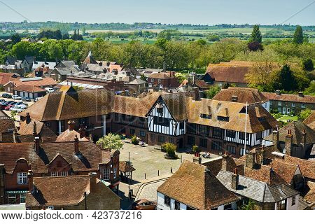 Sandwich, United Kingdom - June 1, 2021: Sandwich Guildhall Museum Viewed From St Peter's Church. Sa