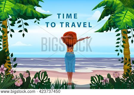 Woman On Seaside Resort In Beachwear Red Hat Enjoing Rest. Time To Travel Vacation Tropical Palms Ex