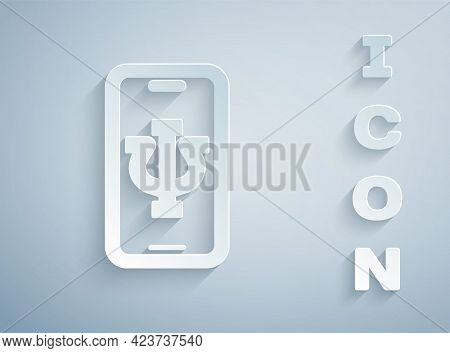 Paper Cut Online Psychological Counseling Distance Icon Isolated On Grey Background. Psychotherapy,