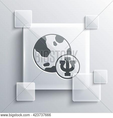 Grey Psychology Icon Isolated On Grey Background. Psi Symbol. Mental Health Concept, Psychoanalysis
