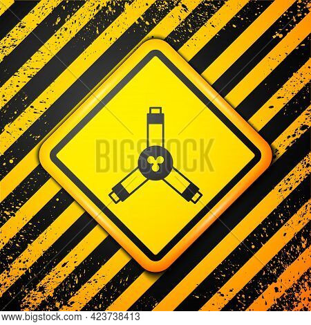 Black Skateboard Y-tool Icon Isolated On Yellow Background. Warning Sign. Vector