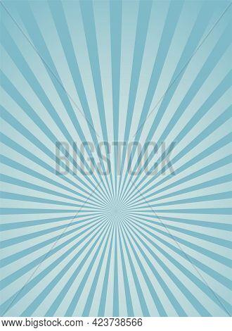 Sunlight Vertical Background. Blue Color Burst Background. Fantasy Vector Illustration. Magic Sun Be