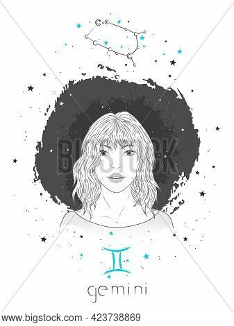 Gemini Zodiac Sign And Constellation. Vector Illustration With A Beautiful Horoscope Symbol Girl On