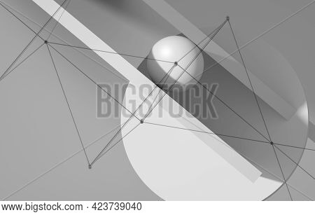 Abstract Minimal White Background With Geometric Primitives And Wire-frame Lattice, 3d Rendering Ill