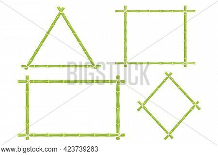 Set Green Bamboo Frames, Border With Rope Different Shapes In Cartoon Style. Exotic Hawaiian, Asian