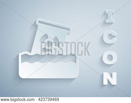 Paper Cut Radioactive Waste In Barrel Icon Isolated On Grey Background. Toxic Waste Contamination On