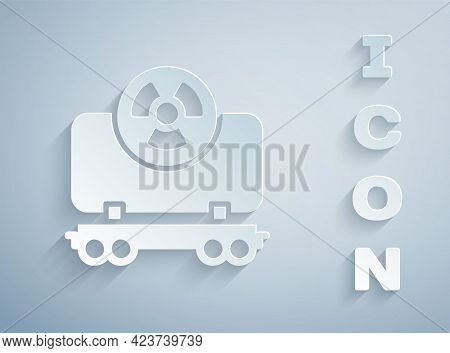 Paper Cut Radioactive Cargo Train Wagon Icon Isolated On Grey Background. Freight Car. Railroad Tran