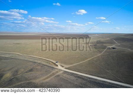 Hilly, Unpopulated Terrain Used For Artillery Training Ranges. Craters From Explosions Are Left In T