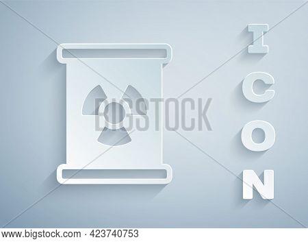 Paper Cut Radioactive Waste In Barrel Icon Isolated On Grey Background. Toxic Refuse Keg. Radioactiv