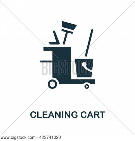 Cleaning Cart Icon. Monochrome Simple Element From Housekeeping Collection. Creative Cleaning Cart I