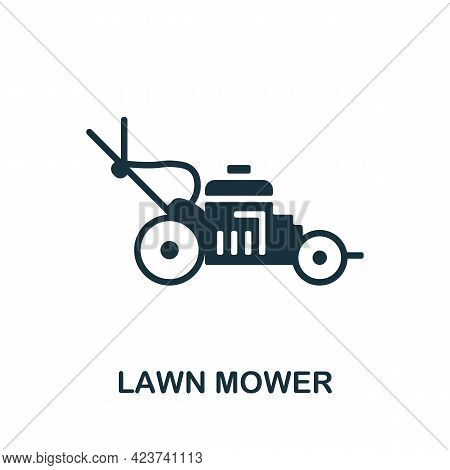 Lawn Mower Icon. Monochrome Simple Element From Housekeeping Collection. Creative Lawn Mower Icon Fo