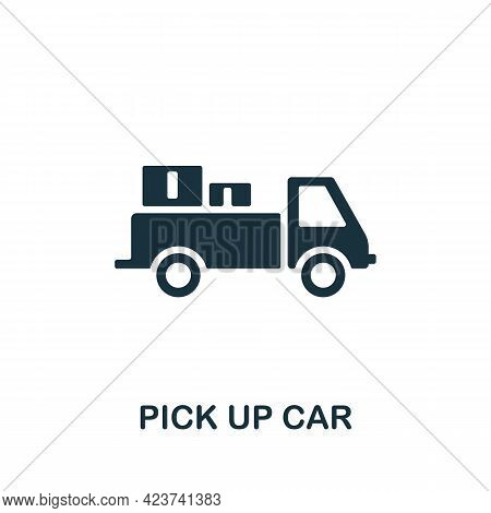 Pick Up Car Icon. Monochrome Simple Element From Manufacturing Collection. Creative Pick Up Car Icon