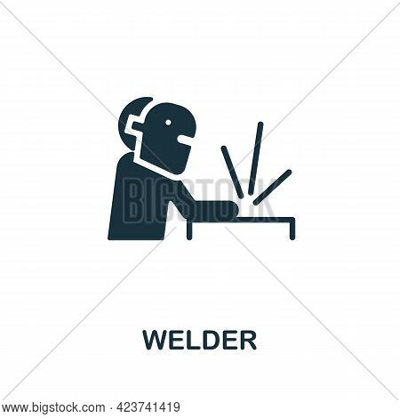 Welder Icon. Monochrome Simple Element From Manufacturing Collection. Creative Welder Icon For Web D