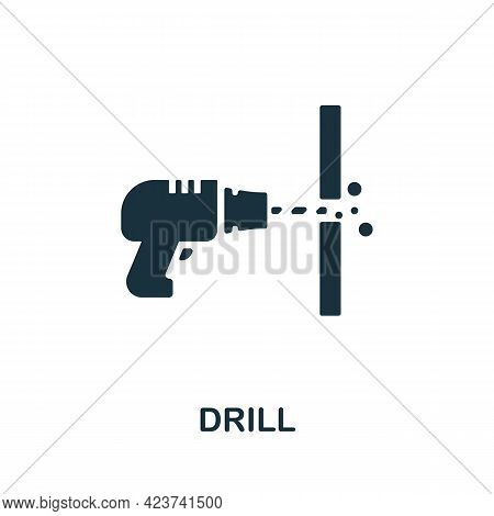 Drill Icon. Monochrome Simple Element From Manufacturing Collection. Creative Drill Icon For Web Des