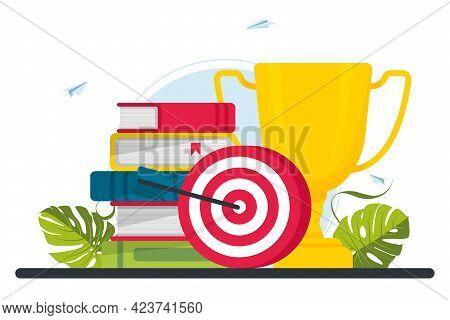 Trophy, Target, Target, Books. Motivation, Job Success, Encouragement Concept. Target Achievement Of