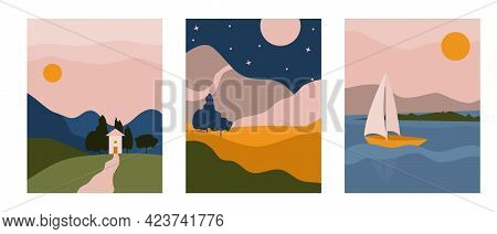 Triptych Abstract Boho Landscape With House, Mountain. Aesthetic Minimal Nature European Background