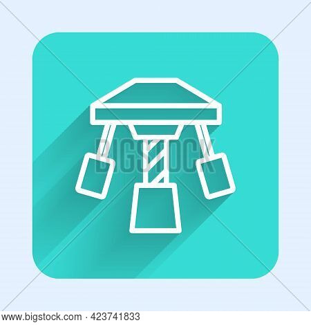 White Line Attraction Carousel Icon Isolated With Long Shadow Background. Amusement Park. Childrens