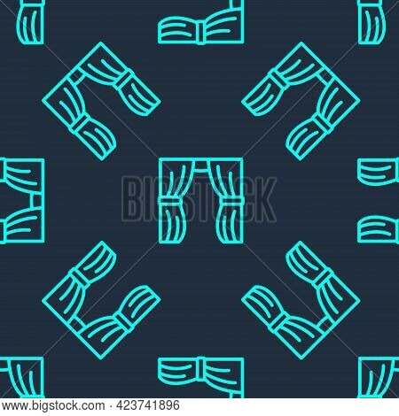 Green Line Circus Curtain Raises Icon Isolated Seamless Pattern On Blue Background. For Theater Or O