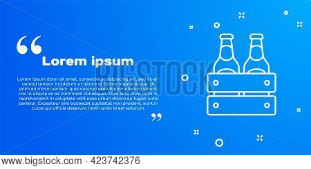 White Line Pack Of Beer Bottles Icon Isolated On Blue Background. Wooden Box And Beer Bottles. Case