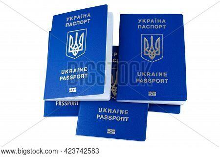 Biometric Passports Of Ukraine Isolated On White Background. Blue Ukrainian Foreign Passport.