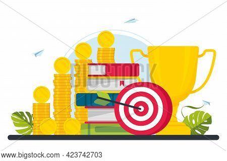 Trophy, Target, Target, Books, Coins On Background. Motivation, Job Success, Encouragement Concept.