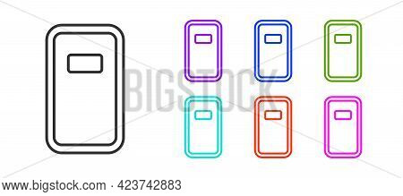 Black Line Police Assault Shield Icon Isolated On White Background. Set Icons Colorful. Vector