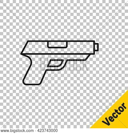 Black Line Pistol Or Gun Icon Isolated On Transparent Background. Police Or Military Handgun. Small